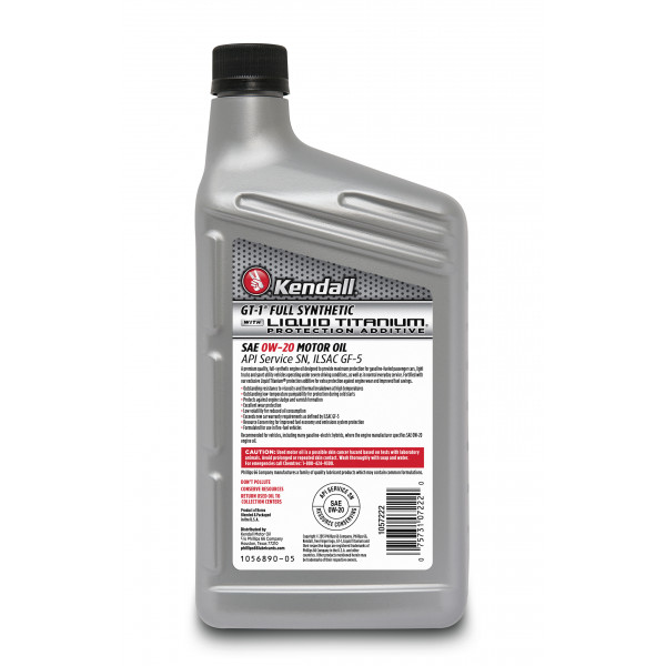 Kendall Gt 1 Full Synthetic Motor Oil With Liquid