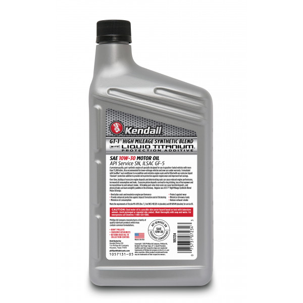 Kendall Gt 1 High Mileage Synthetic Blend Motor Oil With